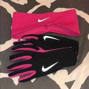 Nike Headband and Glove Running Set